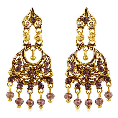 Sukkhi Designer Gold Plated Purple Studded Chandelier Stone Earring For Women