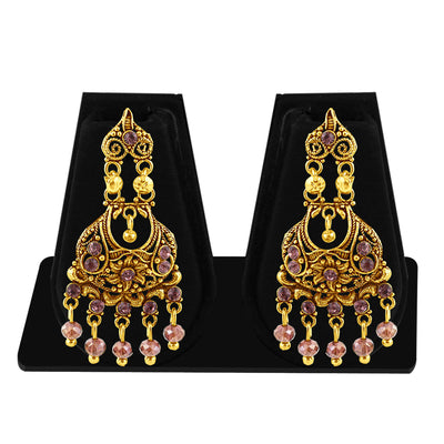 Sukkhi Designer Gold Plated Purple Studded Chandelier Stone Earring For Women-1