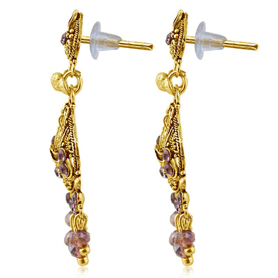Sukkhi Designer Gold Plated Purple Studded Chandelier Stone Earring For Women-2