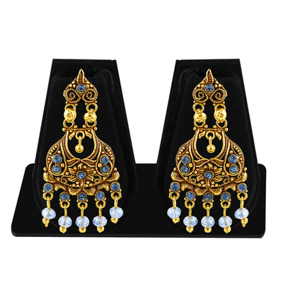 Sukkhi Cluster Gold Plated Blue Studded Chandelier Stone Earring For Women-1