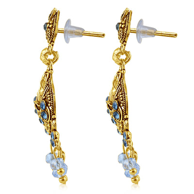 Sukkhi Cluster Gold Plated Blue Studded Chandelier Stone Earring For Women-2