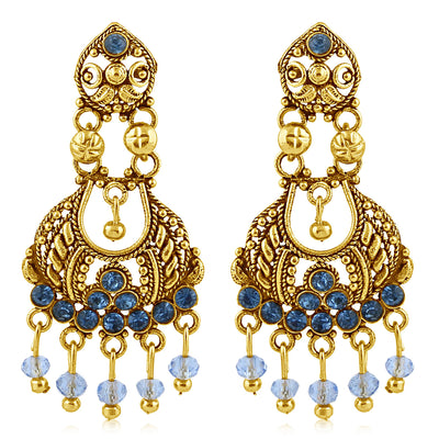 Sukkhi Gleaming Gold Plated Blue Studded Chandelier Stone Earring For Women