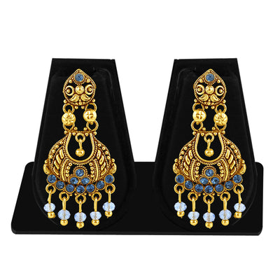 Sukkhi Gleaming Gold Plated Blue Studded Chandelier Stone Earring For Women-1