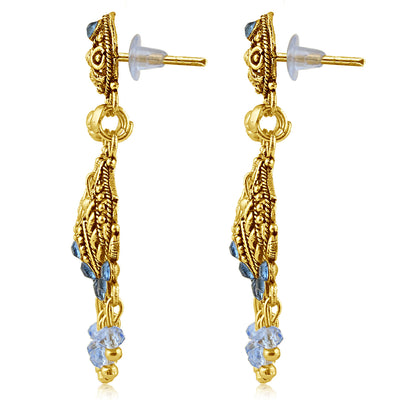 Sukkhi Gleaming Gold Plated Blue Studded Chandelier Stone Earring For Women-2