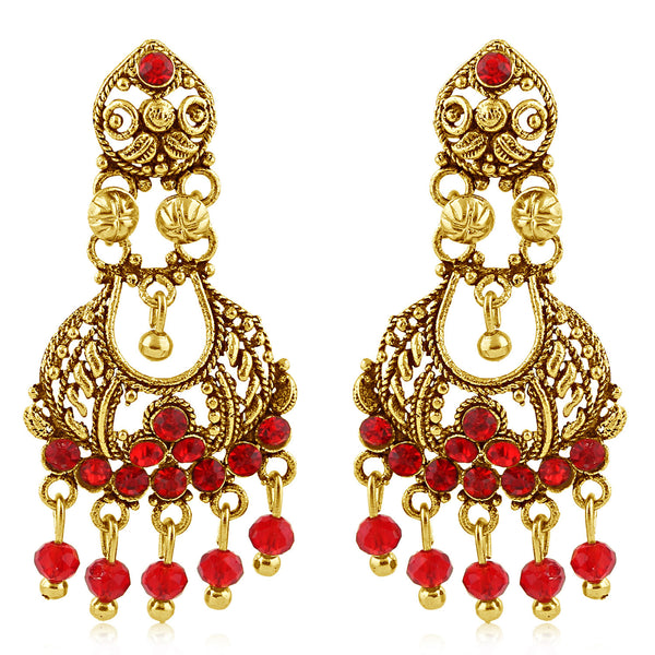 Sukkhi Eye-Catchy Gold Plated Red Studded Chandelier Stone Earring For Women