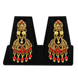 Sukkhi Eye-Catchy Gold Plated Red Studded Chandelier Stone Earring For Women-1