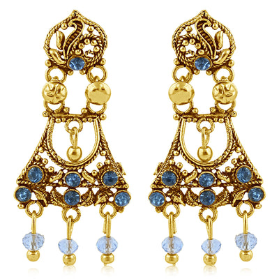 Sukkhi Classic Gold Plated Blue Studded Chandelier Stone Earring For Women