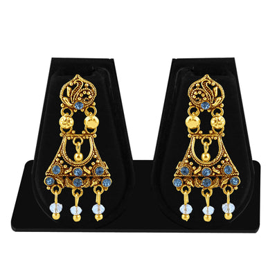 Sukkhi Classic Gold Plated Blue Studded Chandelier Stone Earring For Women-1