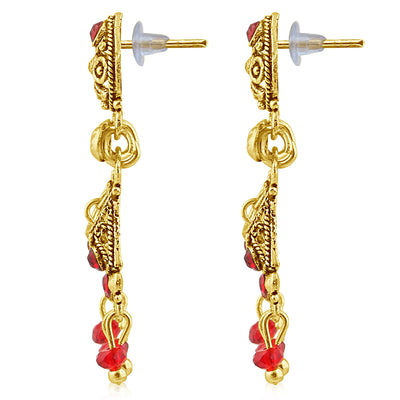 Sukkhi Magnificent Gold Plated Red Studded Chandelier Stone Earring For Women-2