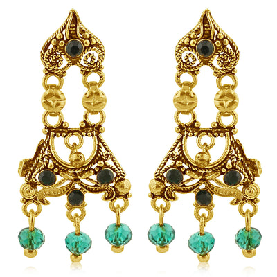 Sukkhi Traditionally Gold Plated Green Studded Chandelier Stone Earring For Women