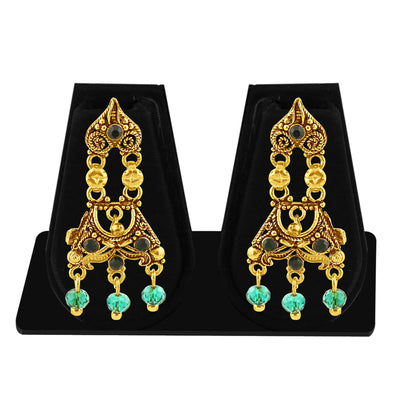 Sukkhi Traditionally Gold Plated Green Studded Chandelier Stone Earring For Women-1