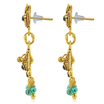 Sukkhi Traditionally Gold Plated Green Studded Chandelier Stone Earring For Women-2