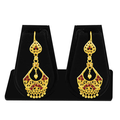 Sukkhi Beguiling Gold Plated Maroon Studded Dangle Stone Earring For Women-1