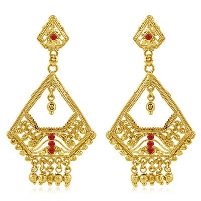 Sukkhi Exotic Gold Plated Red Studded Dangle Stone Earring For Women