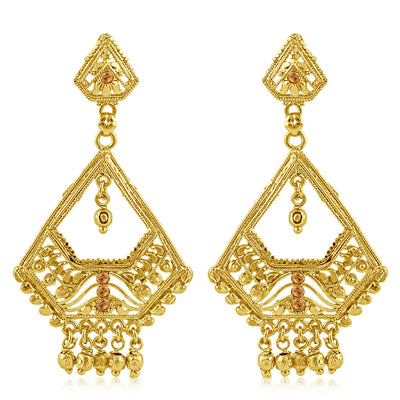 Sukkhi Intricately Crafted Gold Plated Brown Studded Dangle Stone Earring For Women