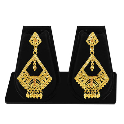 Sukkhi Intricately Crafted Gold Plated Brown Studded Dangle Stone Earring For Women-1
