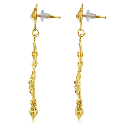 Sukkhi Intricately Crafted Gold Plated Brown Studded Dangle Stone Earring For Women-2