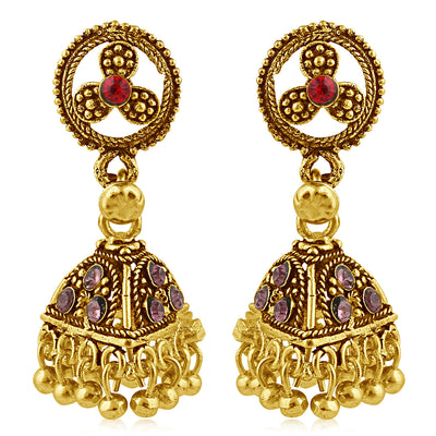 Sukkhi Alluring Gold Plated Purple Studded Jhumki Stone Earring For Women