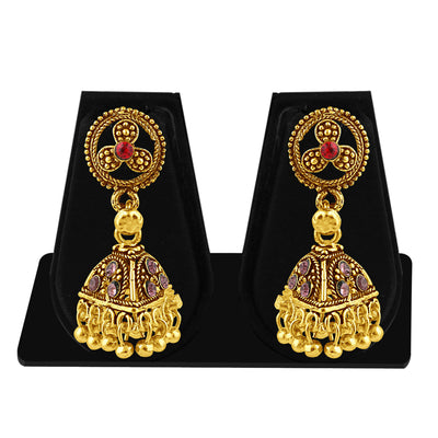 Sukkhi Alluring Gold Plated Purple Studded Jhumki Stone Earring For Women-1