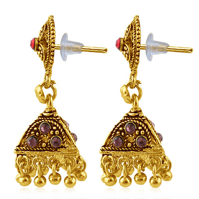 Sukkhi Alluring Gold Plated Purple Studded Jhumki Stone Earring For Women-2