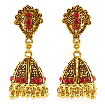 Sukkhi Luxurious Gold Plated Red Studded Jhumki Stone Earring For Women