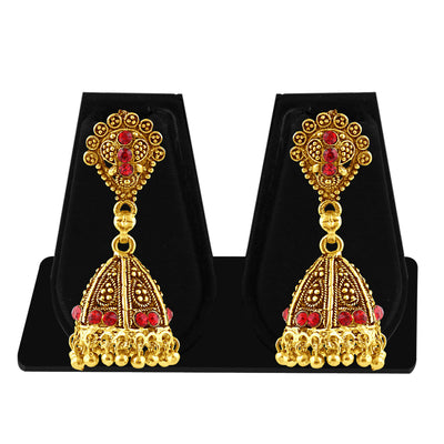 Sukkhi Luxurious Gold Plated Red Studded Jhumki Stone Earring For Women-1