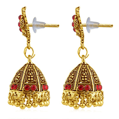 Sukkhi Luxurious Gold Plated Red Studded Jhumki Stone Earring For Women-2