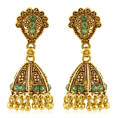 Sukkhi Traditionally Gold Plated Green Studded Jhumki Stone Earring For Women