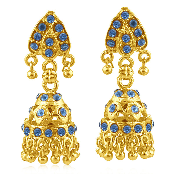 Sukkhi Resplendent Gold Plated Blue Studded Jhumki Stone Earring For Women