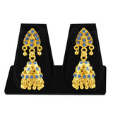 Sukkhi Resplendent Gold Plated Blue Studded Jhumki Stone Earring For Women-1
