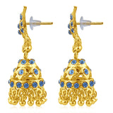 Sukkhi Resplendent Gold Plated Blue Studded Jhumki Stone Earring For Women-2