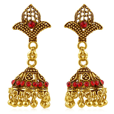 Sukkhi Sublime Gold Plated Red Studded Jhumki Stone Earring For Women