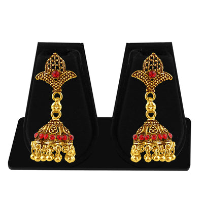 Sukkhi Sublime Gold Plated Red Studded Jhumki Stone Earring For Women-1