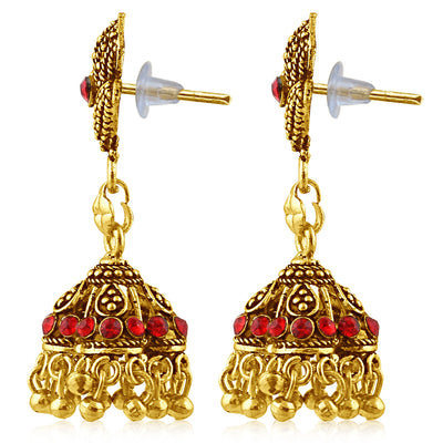 Sukkhi Sublime Gold Plated Red Studded Jhumki Stone Earring For Women-2
