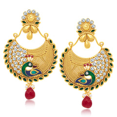 Sukkhi Traditionally Peacock Gold Plated Chandbali Earring For Women