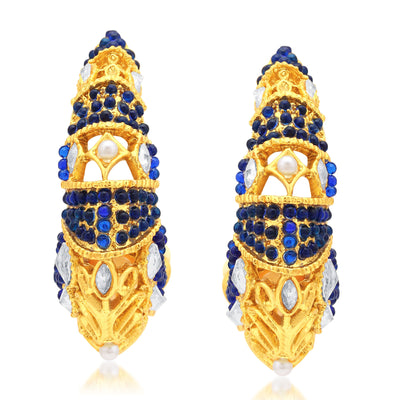Sukkhi Blossomy Gold Plated Blue Stone Chandbali Earrings For Women-1