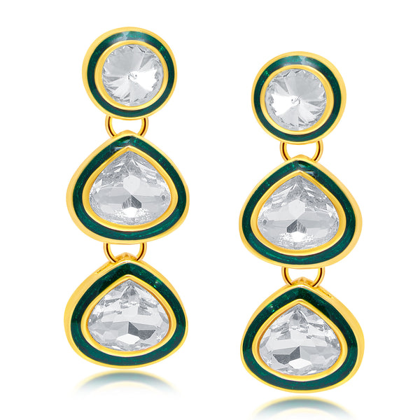Sukkhi Exquisite Gold Plated AD Dangle Earrings For Women