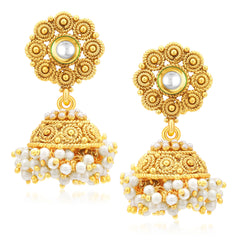 Sukkhi Pretty Jalebi Gold Plated Jhumki Earrings For Women