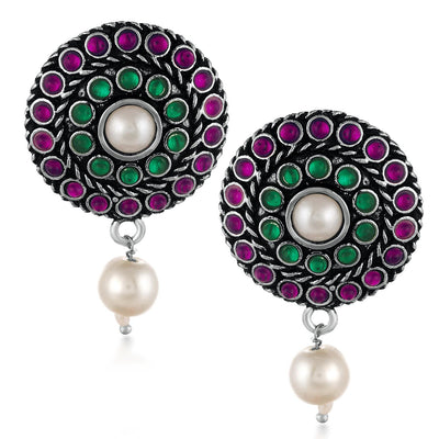 Sukkhi Colorful Rhodium Oxidized Stud Earrings For Women