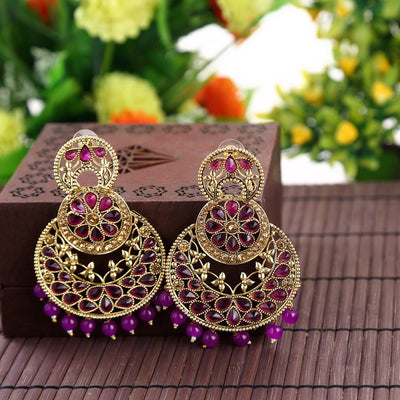 Sukkhi Dazzling Gold Plated Purple Chandbali for women