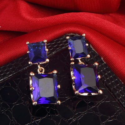 Sukkhi Brilliant Rhodium Plated Blue Square Shaped Drop Earring for women