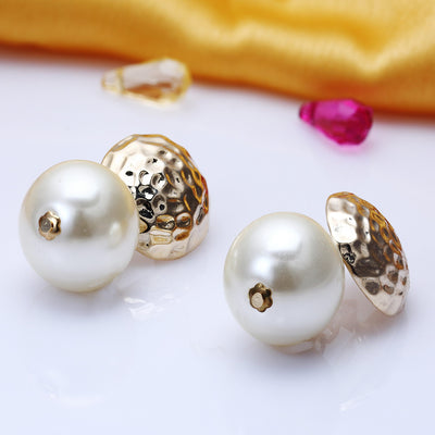Sukkhi Ritzy Gold Plated Round shaped Pearl dangler earring for women