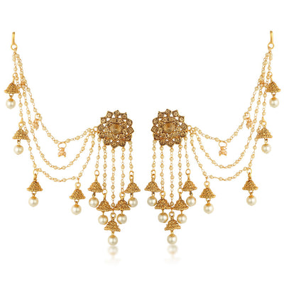 Sukkhi Bahubali Pearl Jhumka Earring With Ear Chain for women