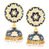 Sukkhi Ethnic Gold Plated Kundan Lotus Meenakari Jhumki Earrings For Women
