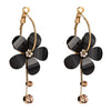Sukkhi Attractive Black Flower Style Fancy Crystal Alloy Dangle Earring