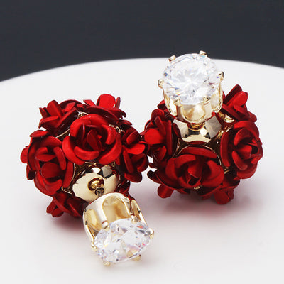 Sukkhi Ritzy Rose Shape Two Sided Crystal Alloy Gold Plated Earring for Women