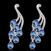 Sukkhi Glimmery Blue Peacock Crystal Rhodium Plated Earring for Women