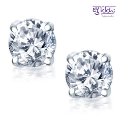 Sukkhi Excellent Rhodium Plated Solitaire Earring For Women