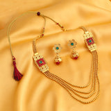 0025 Sukkhi Astonish Jalebi 4 String Gold Plated Necklace Set For Women