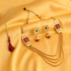 0027 Sukkhi Astonish Jalebi 4 String Gold Plated Necklace Set For Women